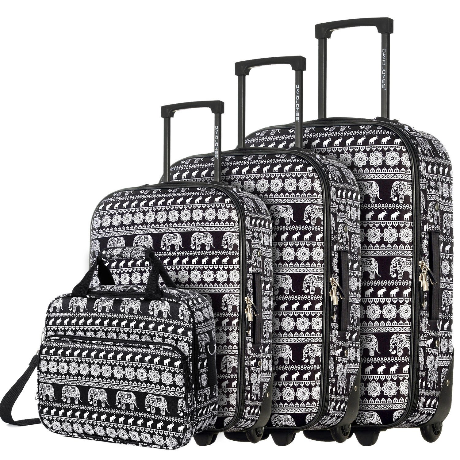 DAVIDJONES Vintage Print 4 Piece Luggage Set-Elephant Black