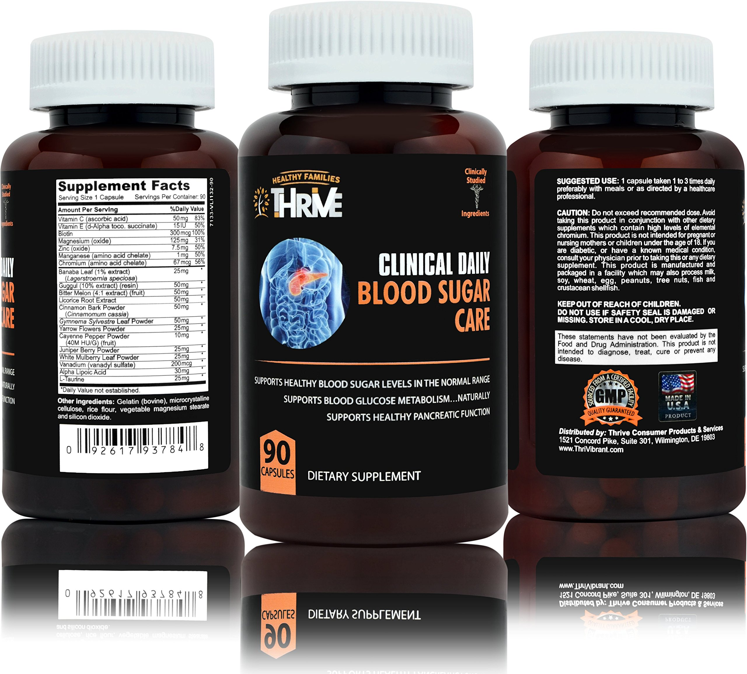 CLINICAL DAILY Blood Sugar supplement. Natural Glucose Metabolism support in advanced formula. With Biotin, Banaba Leaf, Alpha Lipoic Acid, essential minerals Vanadium, Magnesium, Zinc. 90 capsules