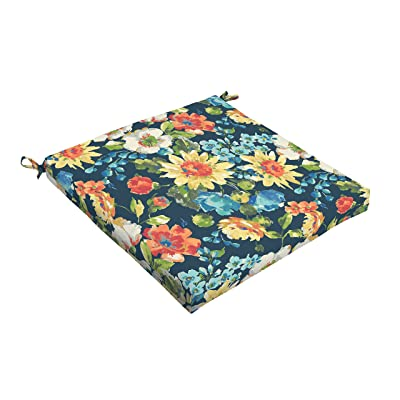 Mozaic AMCS115936 Indoor or Outdoor Square Chair Seat Cushion, 19 x 19 x 2.5, Navy Floral : Garden & Outdoor