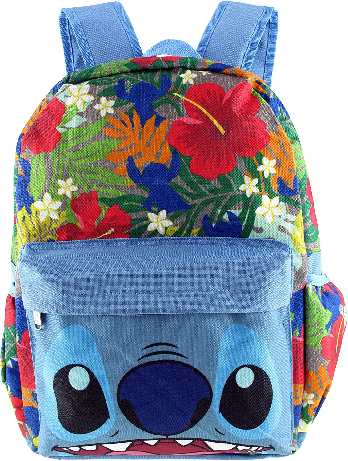 """Disney Lilo and Stitch Allover Print 16/"""" Girls Large School Backpack-BLUE"""