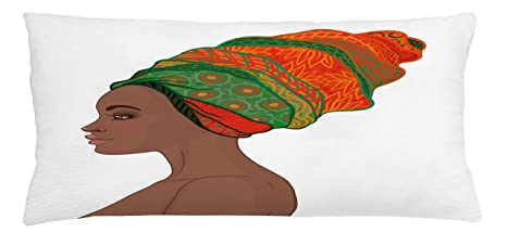 Ambesonne African Woman Throw Pillow Cushion Cover, Afro Female Young Beauty Traditional Hair Dress Turban