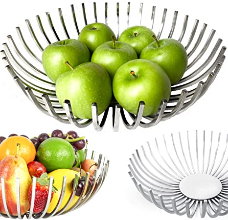 Decorative Fruit Bowl For Modern Kitchen Stylish Centerpiece Bowl Dining Room Decor Metal Fruit Basket For Kitchen Counter Coffee Table Décor Stainless Steel Fruit Holder Handmade Kitchen Gift Amazon Ca Home Kitchen
