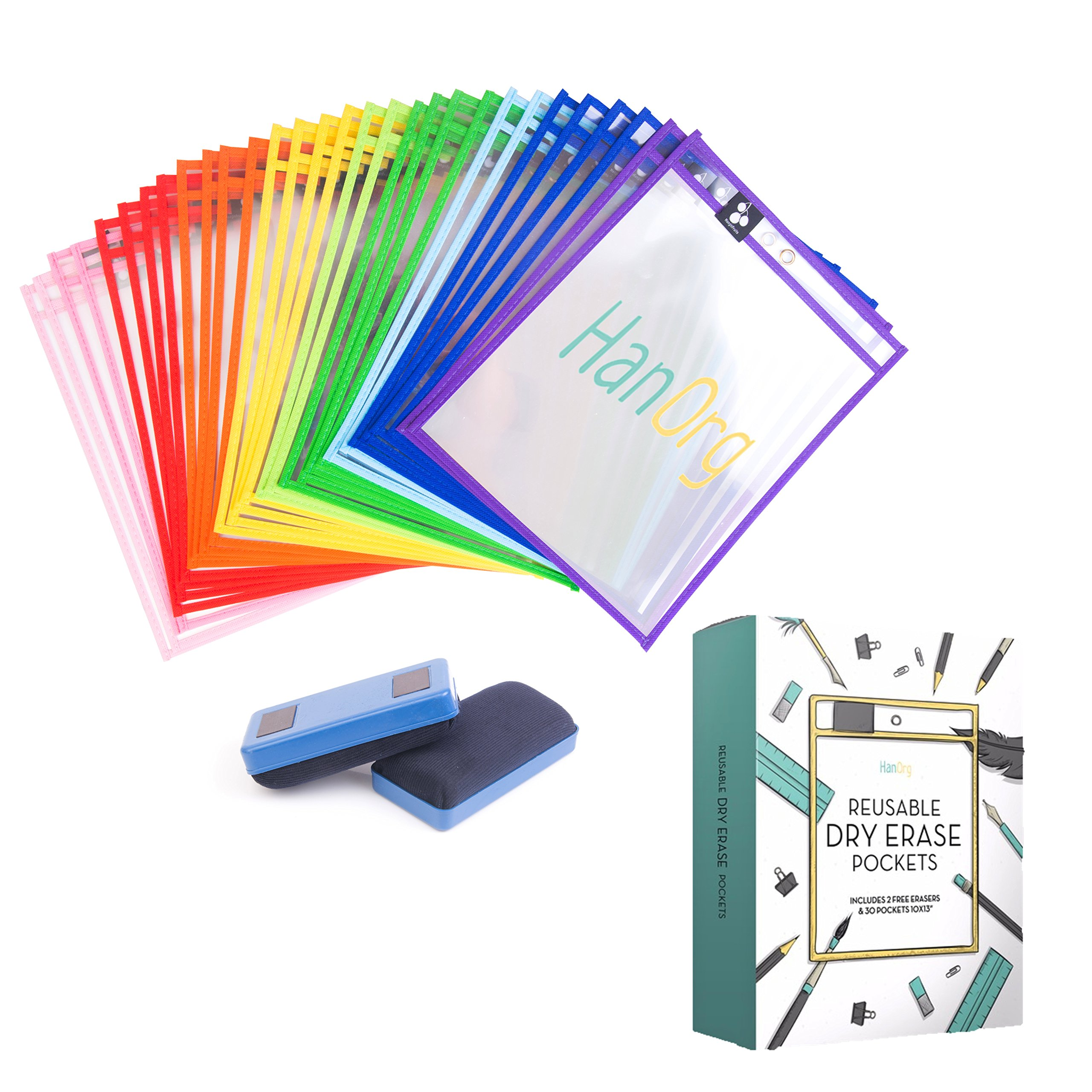 Heavy Duty Dry Erase Pockets - 10'' x 13'' Oversized Reusable Multicolored Sleeves - Many Different Colors - Top Quality Supplies for Your Office, School, Classroom, Children & More (Pack of 30)