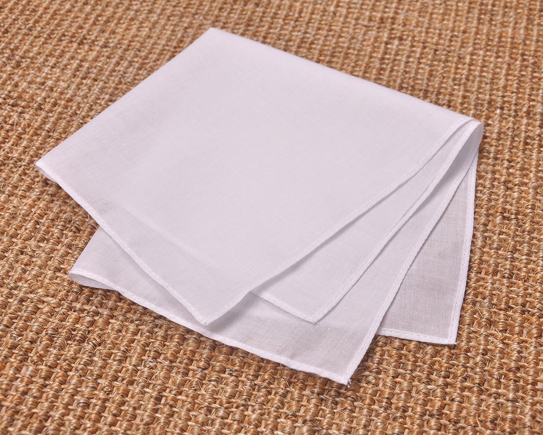 Milesky Solid White Handkerchiefs Premium 60S Cotton Unisex 11 x 11 inch Pack of 12