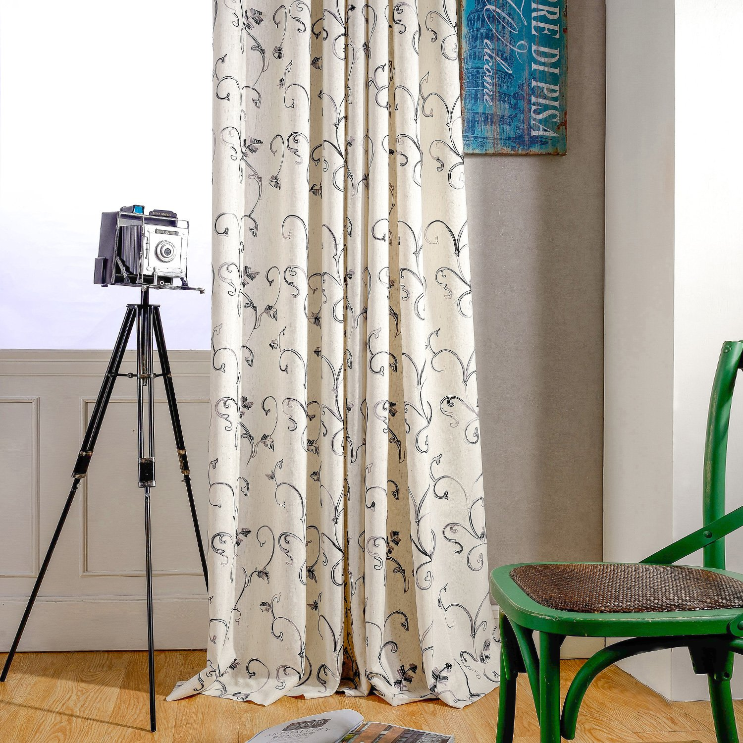 2 Panels VOGOL European Simple Floral Embroidered Curtains Blue Elegant Faux Linen Curtain for Living Room 52x96 Inch Top Grommet YouYee 005CLQH087C1S5296
