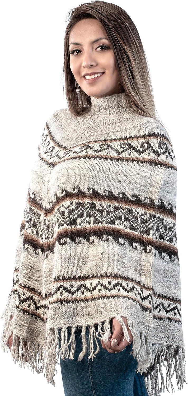 INTI ALPACA Poncho en alpaga avec franges pour femme Poncho dhiver Cape tricot/ée Fabriqu/é /à la main en laine dalpaga Taille unique