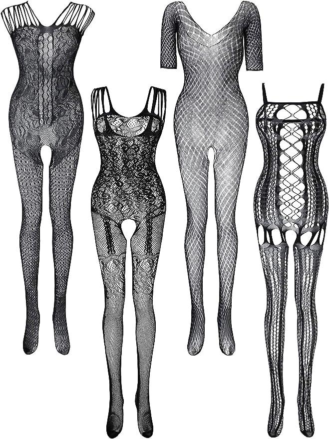 6 Pi/èces Bas en Dentelle Femme Bas de Lingerie en Maille Bodysuits R/ésille Creux Lingerie de Nuit Floral pour Faveurs de la Date Portant de Femmes