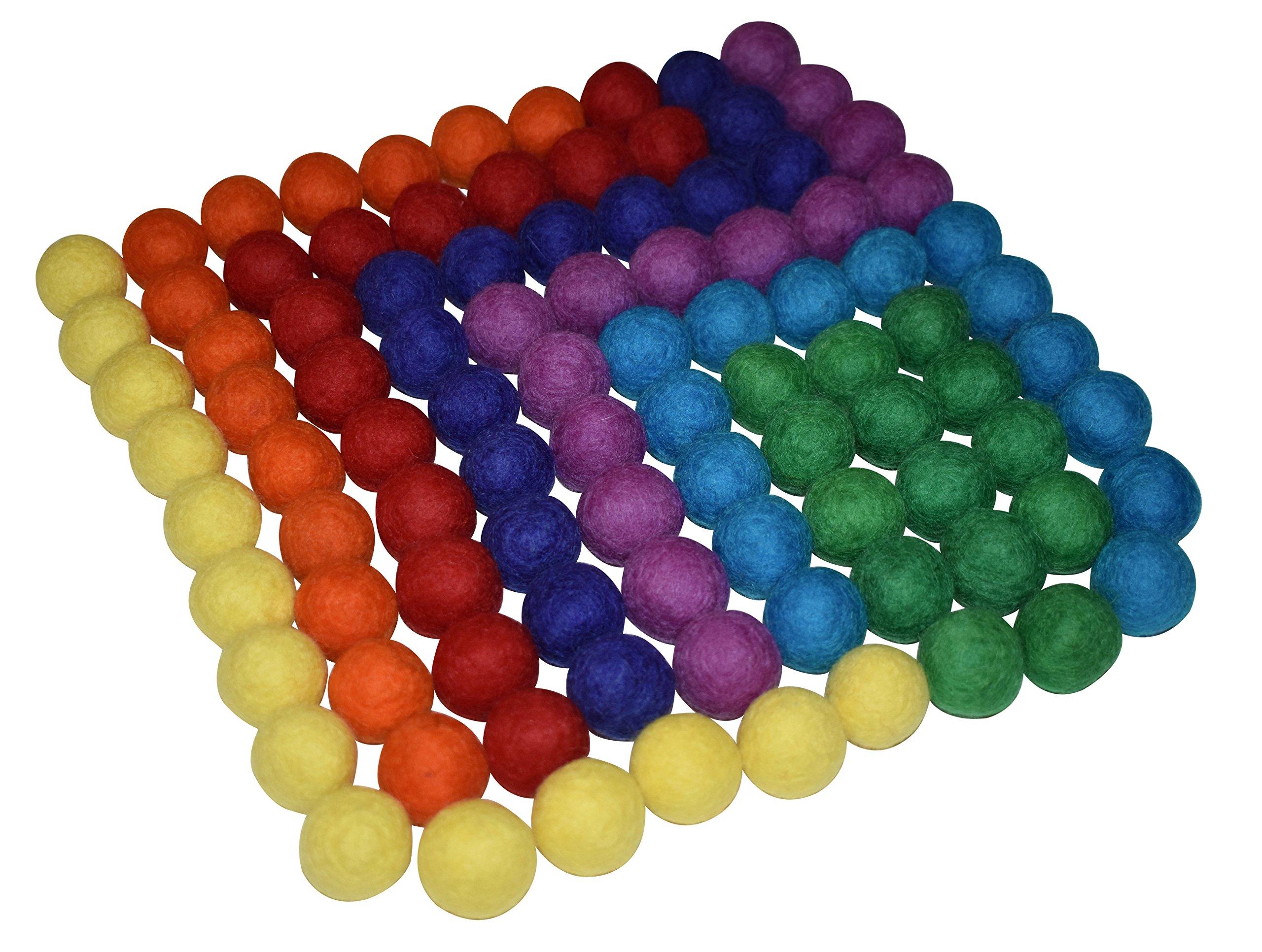 Rainbow Felt Balls - 98 Pieces | 100% Pure Wool Felt Balls | All Natural
