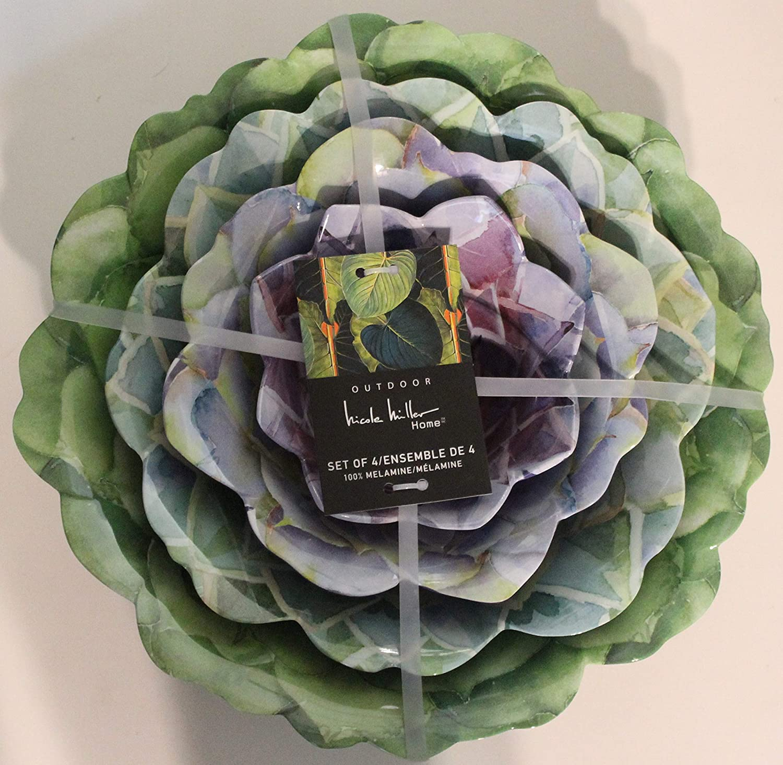 Nicole Miller Floral Melamine Set of 4 Serving Bowls - With Scalloped Edges (Purple/Green Floral Bowls)