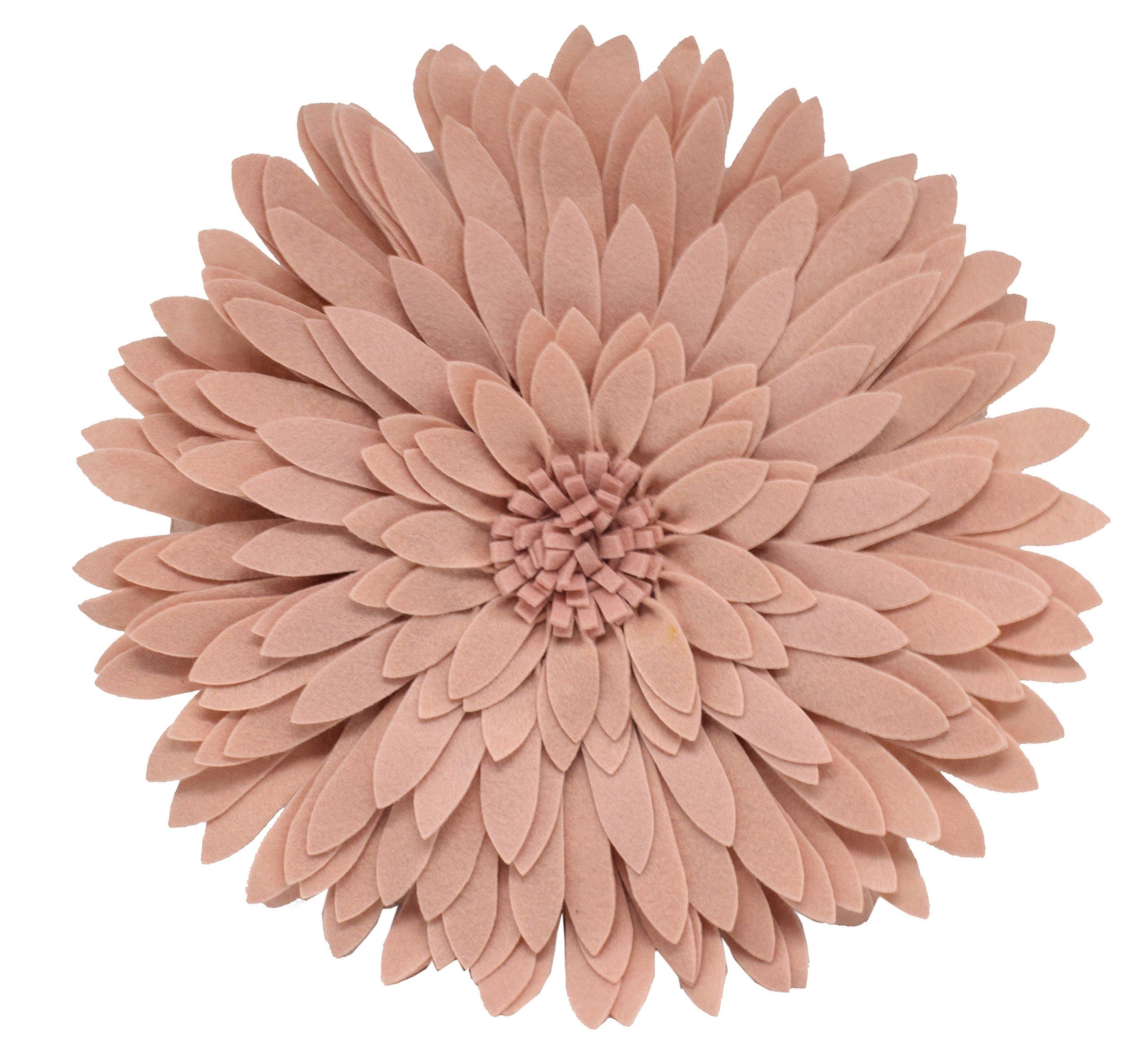 Fennco Styles 3D Sunflower Decorative Throw Pillow 13'' Round (Rose, Case+Insert)
