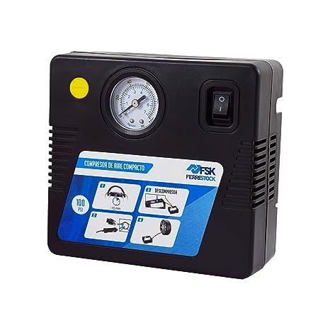 Ferrestock FSKCOM004 Mini Compresor de Aire Reforzado, 12V