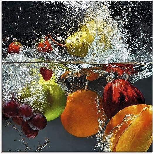 Glas-Bild Wandbilder Druck auf Glas 100x50 Deko Essen /& Getränke Erdbeere Wasser