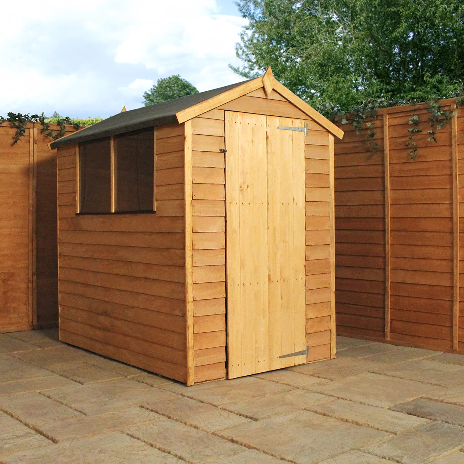 6x4 overlap wooden apex garden shed styrene windows single door by waltons amazoncouk garden outdoors