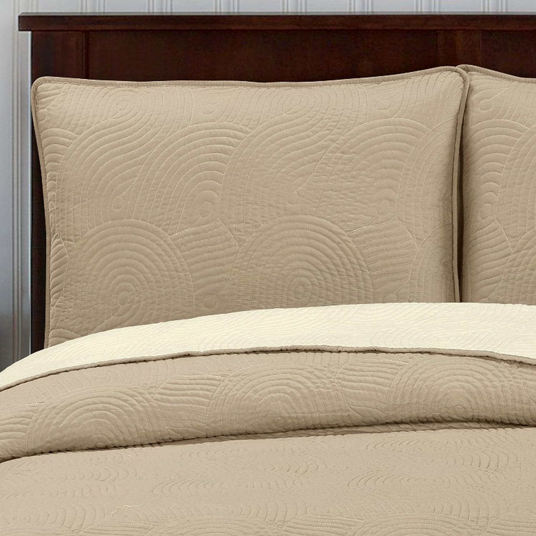 Brielle Wave Reversible Quilt Set Twin Ivory Linen Home Kitchen