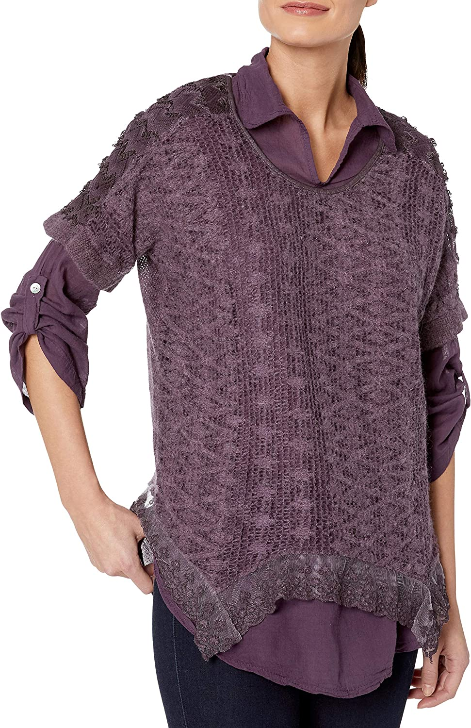 M Made in Italy Womens Embroidered Top with Scarf Set Tunic Shirt Plum