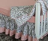 7 Pieces Set Ruffle Grey Pink Floral Baby Crib