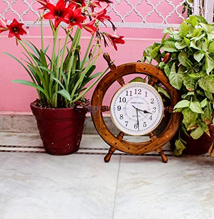 Nagina International Time s Wall Clock Nautical Pirate s Ship Wheel Premium Craft Gift 18 inches