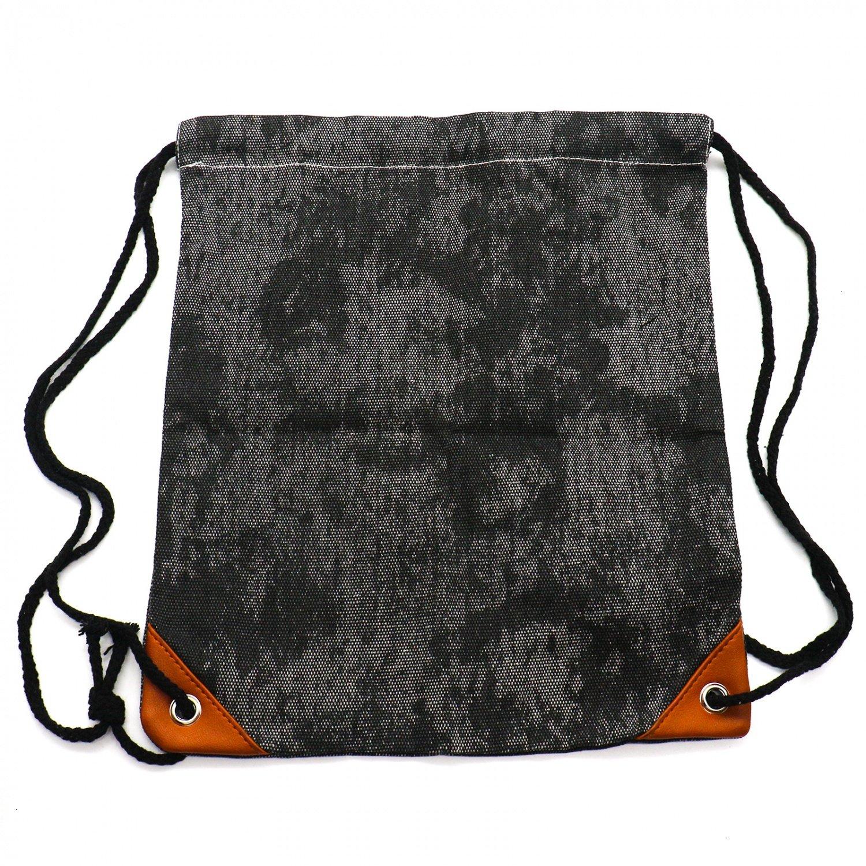 HUELE Canvas Drawstring Sport Gym Bag Backpack Leather Reinforced Corners with Inside Pocket