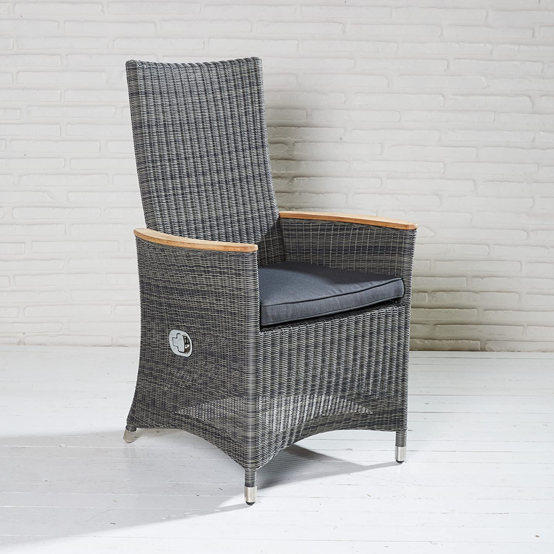 Hochlehner Gartenstuhl Gartensessel Polyrattan schwarz grau Positionsstuhl Stuhl