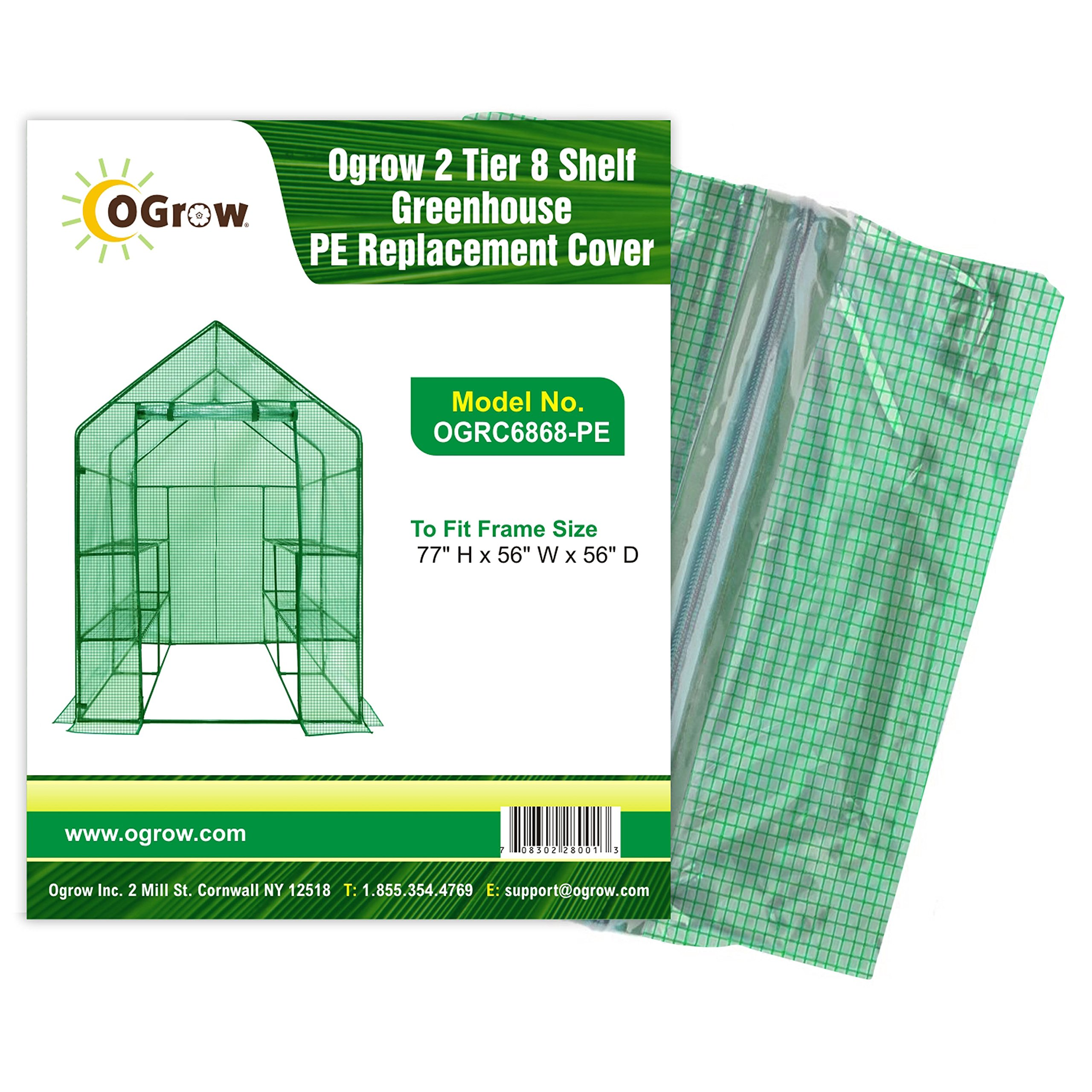 OGrow 2 Tier 8 Shelf Greenhouse Pe Replacement Cover - to Fit Frame Size 77'' H X 56'' W X 56'' D, green