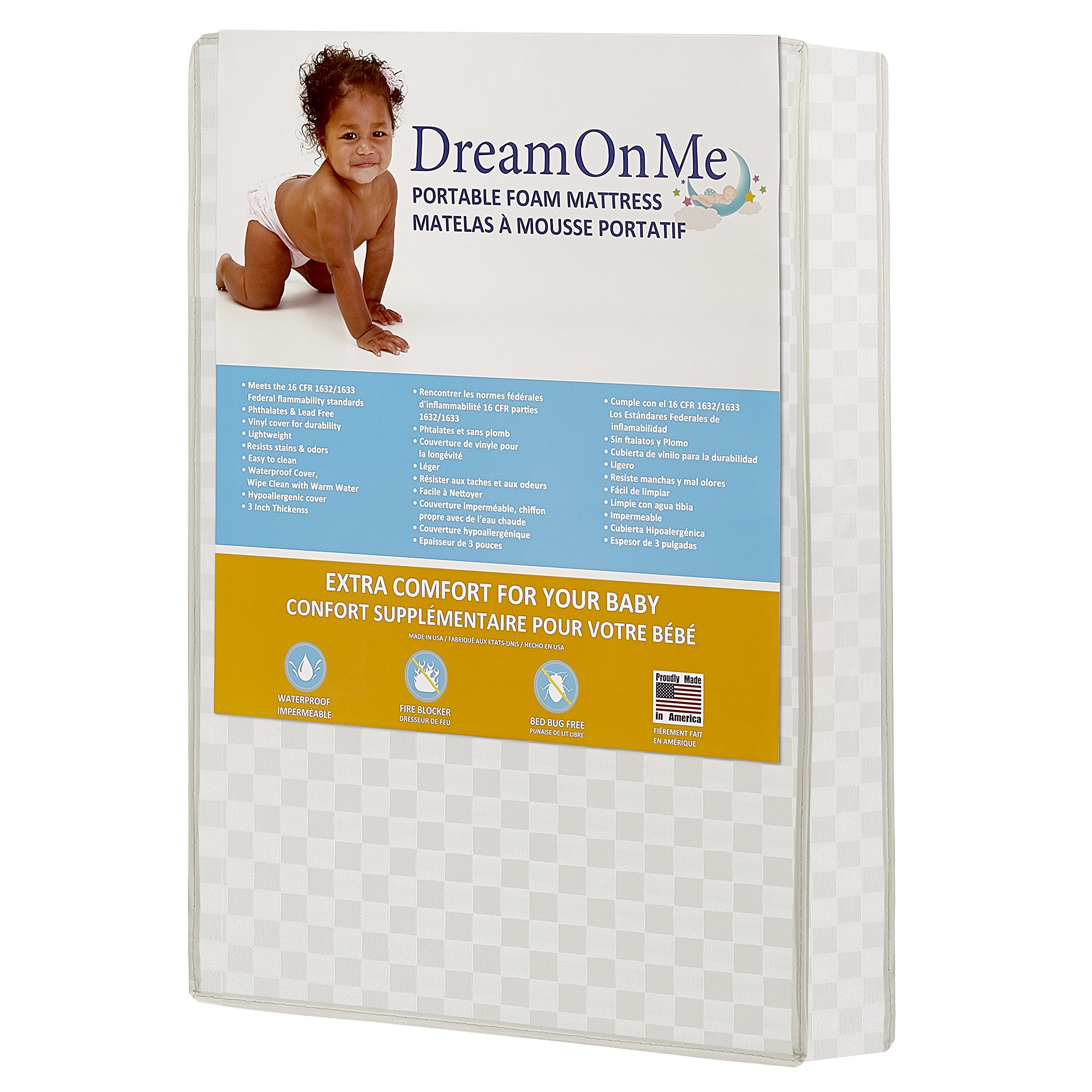 Dream On Me Graco Travel Lite Portable Mini Play Yard Firm Mattress, White by Dream On Me (Image #2)