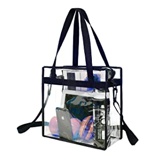 BAGAIL NFL and PGA Stadium Approved Clear Tote Bag with Zipper Closure Crossbody Messenger Shoulder Bag with Adjustable Strap