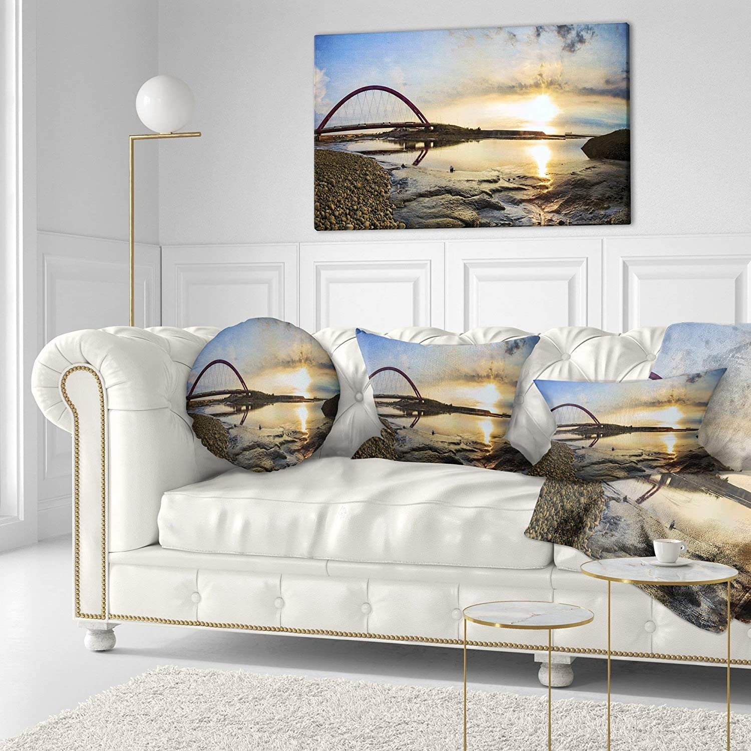 Sofa Throw Pillow 20 Insert Printed On Both Side Designart CU9415-20-20-C Blue Waters in Spring Seascape Photography Round Cushion Cover for Living Room