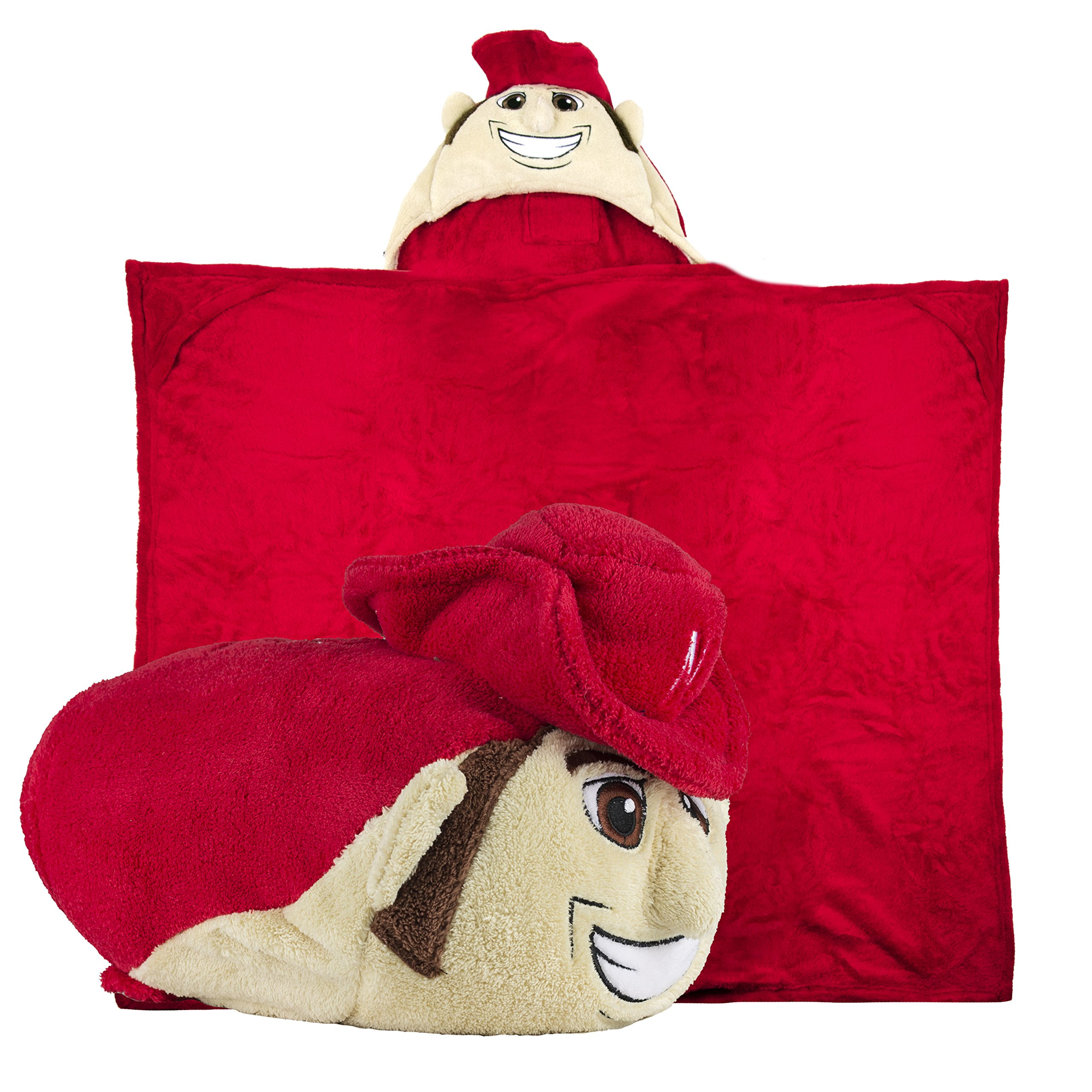 Comfy Critters Stuffed Animal Blanket – College Mascot, University of Nebraska 'Herbie Husker' – Kids huggable pillow and blanket perfect for the big game, tailgating, pretend play, and much more
