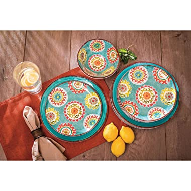 18 Piece Melamine Dinnerware Set Medallion Pattern (Turquoise)