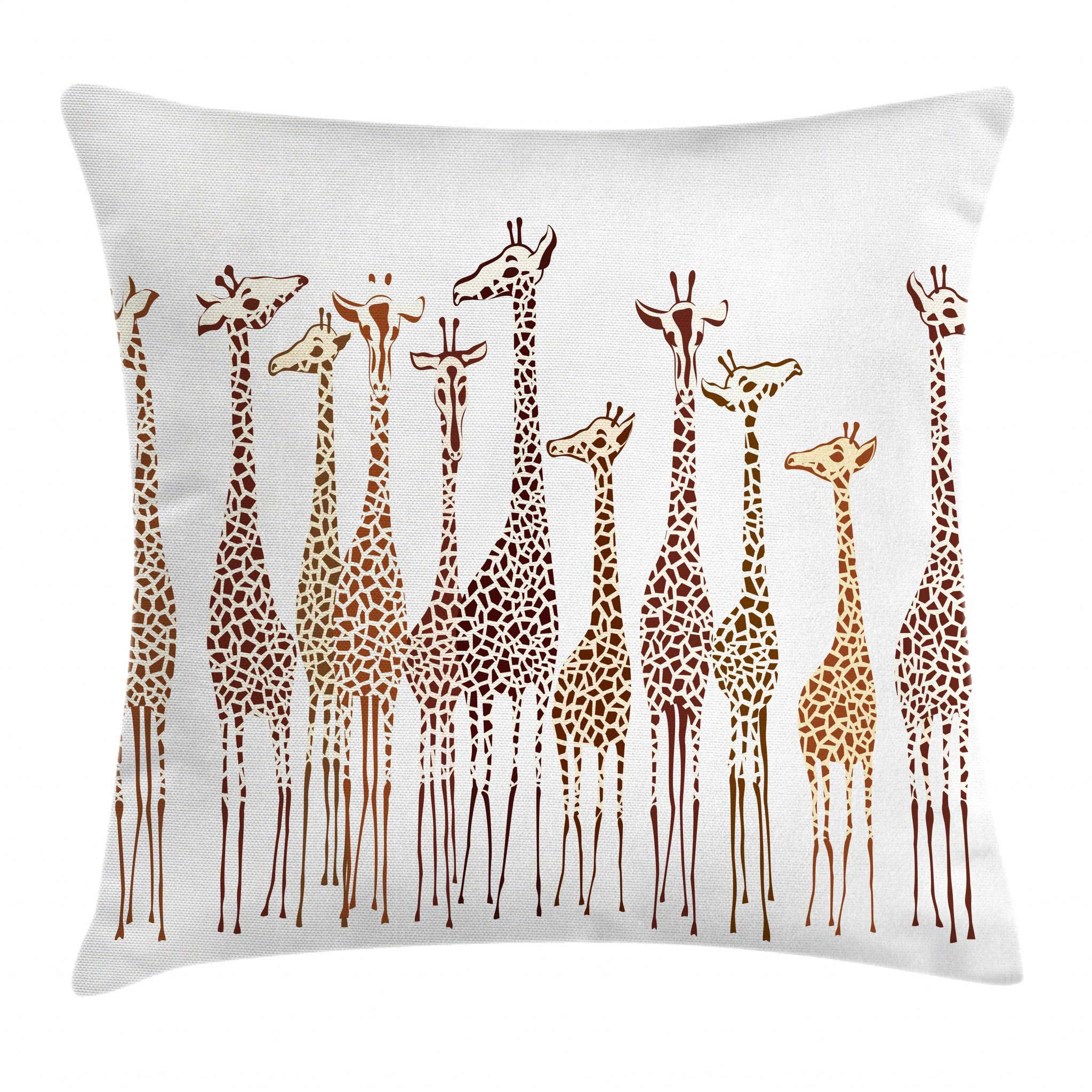 Lunarable Safari Throw Pillow Cushion Cover, Tropical Giraffes Exotic Climates Wilderness Savannah Animals Artful Illustration, Decorative Square Accent Pillow Case, 16 X 16 Inches, Multicolor
