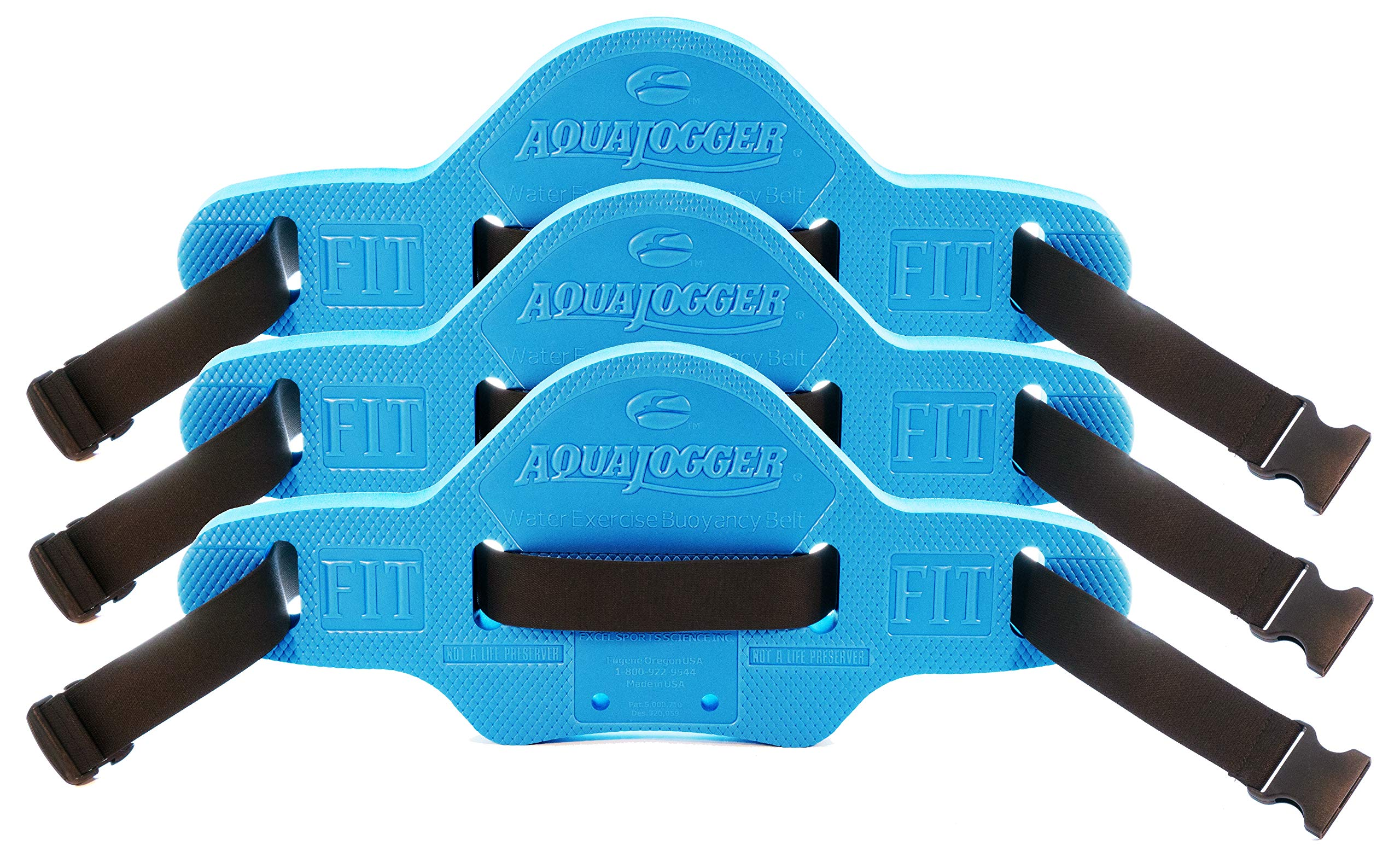AQUAJOGGER Fit Blue Belt 3 Pack Tapered Sides for Narrow Waists,The Leader in Aquatics Exercise, Suspends Body Vertically in Water, Pool Fitness by AQUAJOGGER