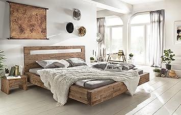 woodkings® holz bett 180x200 marton doppelbett akazie gebürstet ... - Schlafzimmer Holz Massiv