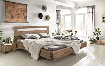 Woodkings Holz Bett 180x200 Marton Doppelbett Akazie Gebürstet Schlafzimmer  Massivholz Design Doppelbett Schwebebett Massive Naturmöbel Echtholzmöbel