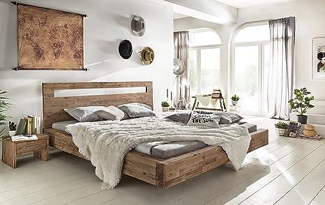 Woodkings® Holz Bett 180x200 Marton Doppelbett Akazie gebürstet  Schlafzimmer Massivholz Design Doppelbett Schwebebett Massive Naturmöbel  Echtholzmöbel ...