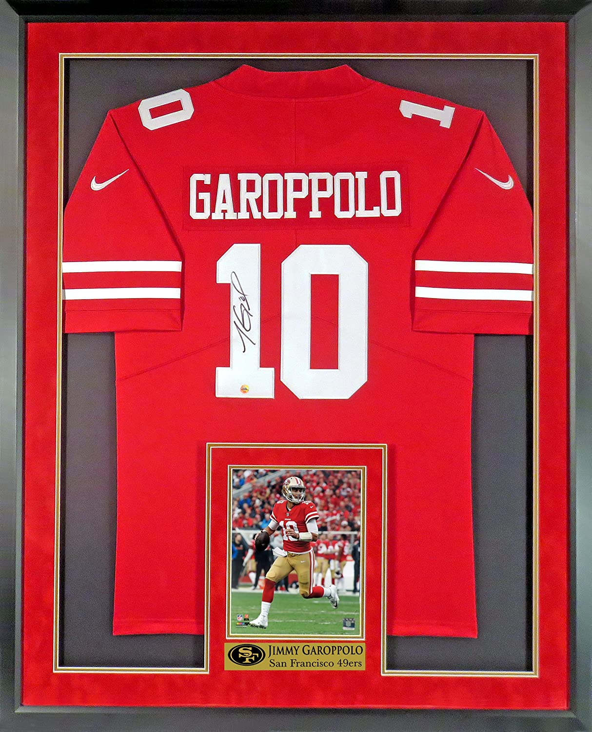 240120d6fac Amazon.com: SF 49ers Jimmy Garoppolo Autographed Jersey (w/ Inset Photo & Custom  49ers Plate) Framed: Sports Collectibles