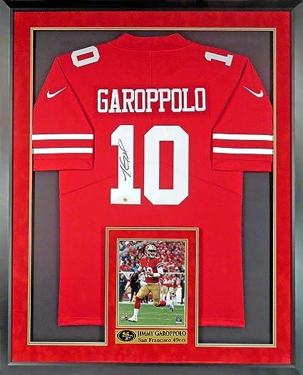 9c7336d1e52 SF 49ers Jimmy Garoppolo Autographed Jersey (w  Inset Photo   Custom 49ers  Plate)