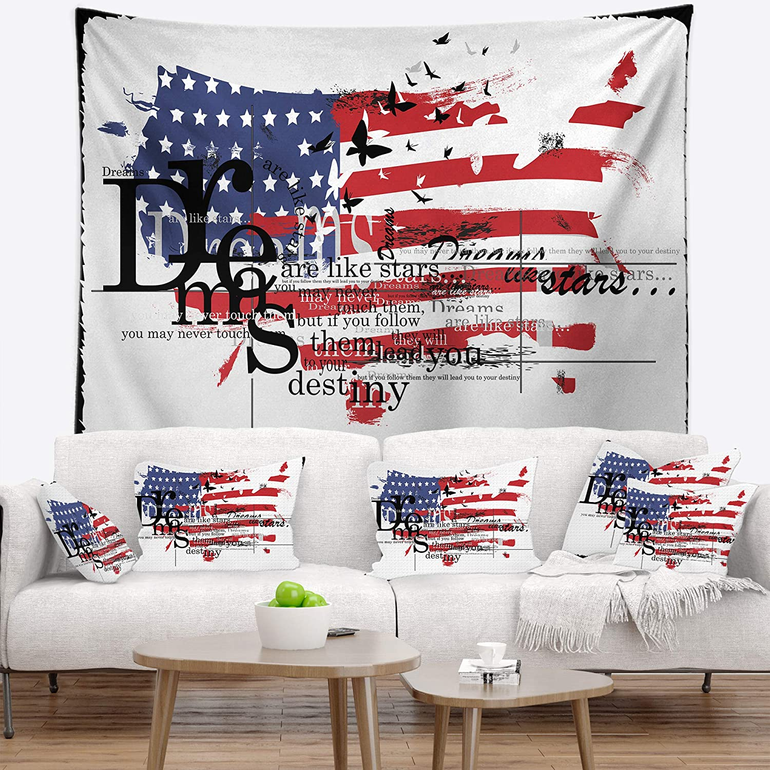 Designart 'Vintage Fashion USA Flag' Map Tapestry Blanket Décor Wall Art for Home and Office, Created On Lightweight Polyester Fabric Medium: 39 in. x 32 in