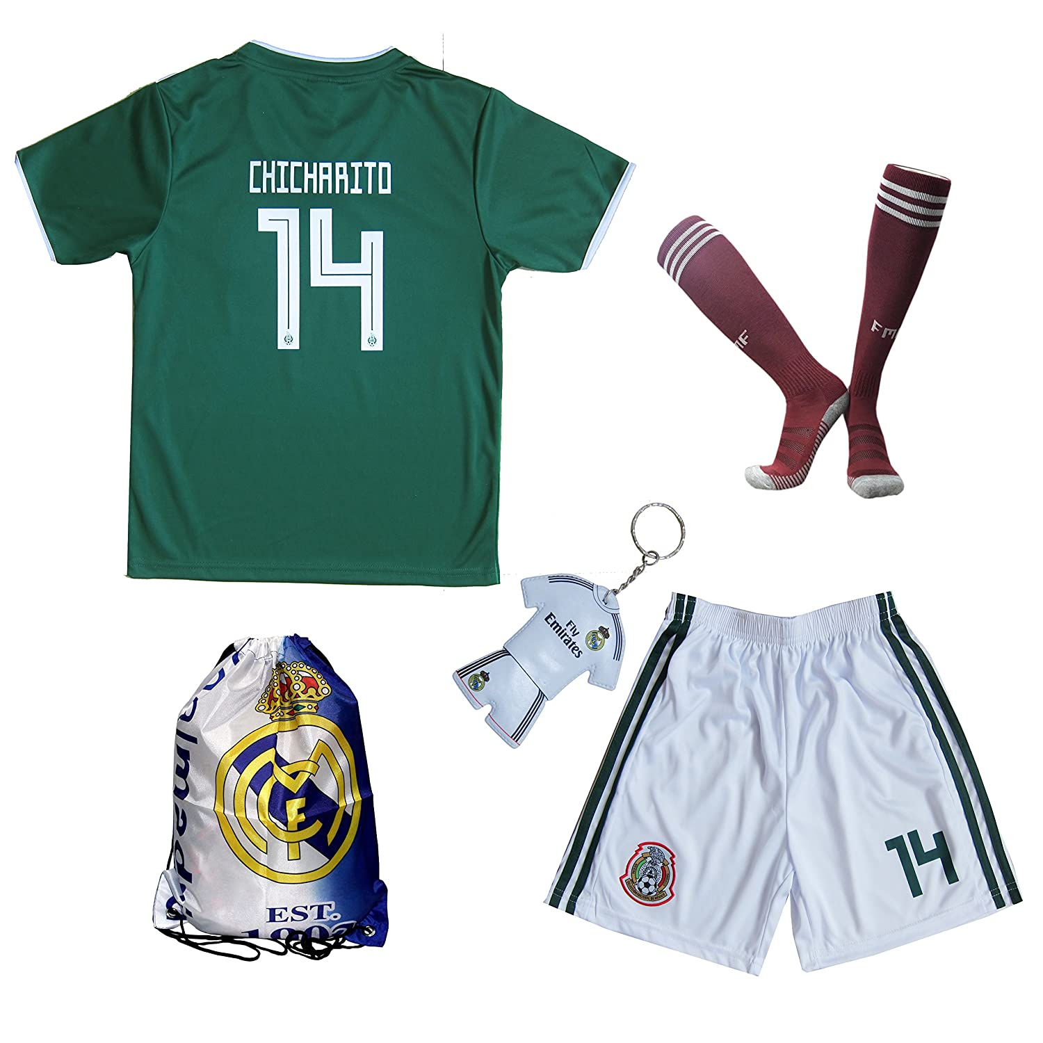 0b6b5e100 Amazon.com   KID BOX 2018 Mexico  14 CHICHARITO Kids Home Soccer Jersey    Shorts Socks Set Youth Sizes   Sports   Outdoors