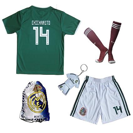 f0298ab3fcca6 KID BOX 2018 Mexico #14 CHICHARITO Kids Home Soccer Jersey & Shorts Socks  Set Youth Sizes