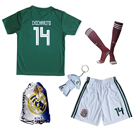 KID BOX 2018 Mexico  14 CHICHARITO Kids Home Soccer Jersey   Shorts Socks  Set Youth c4b37ca72a20f