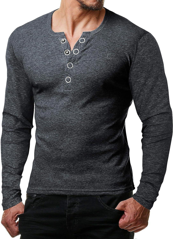 Serafino Shirt Henley Shirt Slim fit mit Gro/ßen Kn/öpfen ReRock by Young /& Rich Herren Longsleeve Langarm T-Shirt Knopfleiste V Ausschnitt