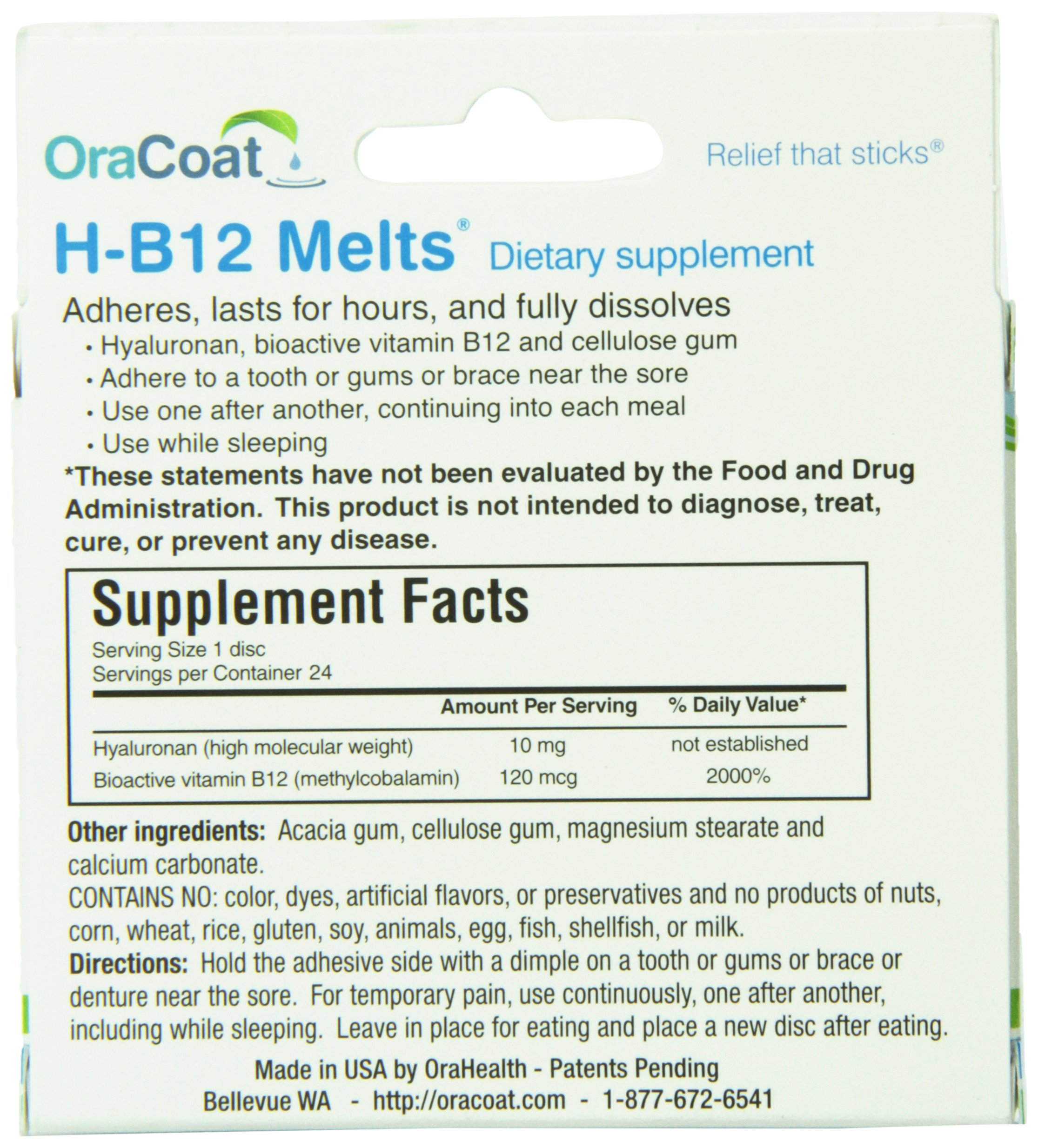 ORAHEALTH H-B12 Melts, 24 Count (Pack of 12) by Orahealth