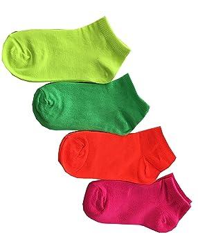 Yanoir 4 Pares Calcetines Calcetines Cortos (Altura Tobillo) niña algodón Fluo, 4-6 Anni (22-26): Amazon.es: Deportes y aire libre