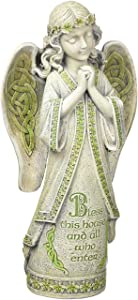 "Roman Celtic Garden Collection ""Bless This House and All Who Enter"" Irish Garden Angel Statue, 14.5-Inch"