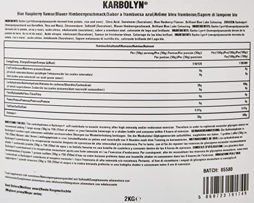 Health Hack - Karbolyn, 1 kg, sabor frambuesa azul