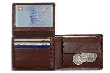 DiLoro Carteras RFID Monedero de Cuero del tirón Identificación Compartimiento para Monedas Compacto Plegable Hickory Marron: Amazon.es: Equipaje