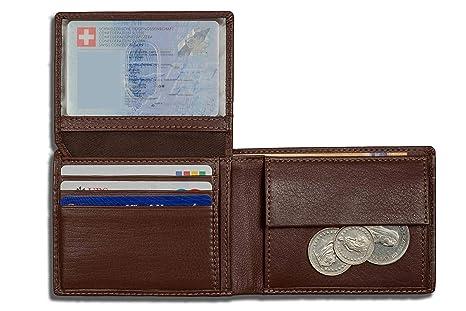 DiLoro Carteras RFID Monedero de Cuero del tirón Identificación Compartimiento para Monedas Compacto Plegable Hickory Marron