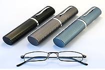 Compact Premium Pocket Metal Reading Glasses in Aluminium Pen Holder Case