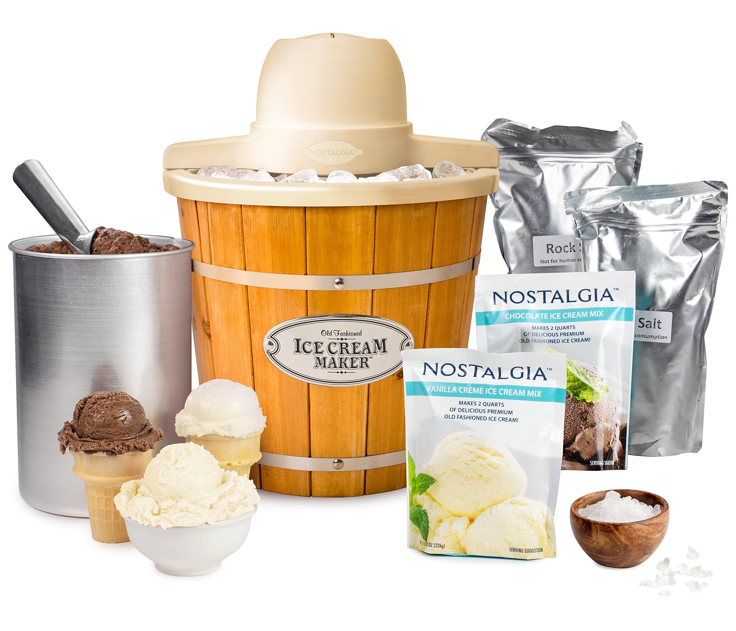Nostalgia ICMP400WDBUN Wood Bucket Electric Ice Cream Starter Kit, 4 quart, Brown