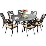 "Darlee 201630-9PC-99LD Ocean View Cast Aluminum 9 Piece Round Dining Set and Cushions, 71"", Antique Bronze"
